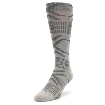 Image of Gray Coffee Dyed Pattern Men's Casual Socks (side-2-front-07)
