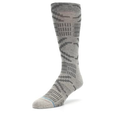 Image of Gray Coffee Dyed Pattern Men's Casual Socks (side-2-front-08)
