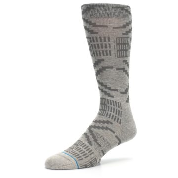 Image of Gray Coffee Dyed Pattern Men's Casual Socks (side-2-09)