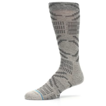 Image of Gray Coffee Dyed Pattern Men's Casual Socks (side-2-10)