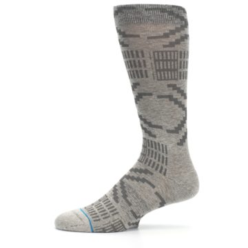Image of Gray Coffee Dyed Pattern Men's Casual Socks (side-2-11)