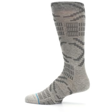 Image of Gray Coffee Dyed Pattern Men's Casual Socks (side-2-12)