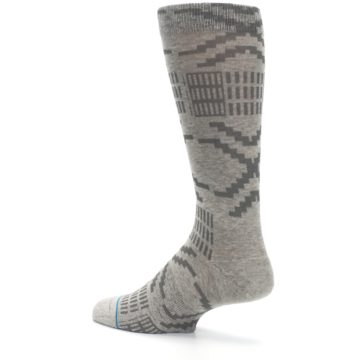 Image of Gray Coffee Dyed Pattern Men's Casual Socks (side-2-back-14)