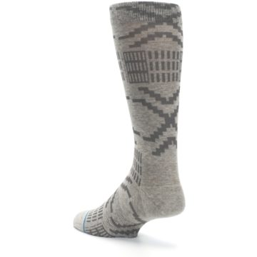 Image of Gray Coffee Dyed Pattern Men's Casual Socks (side-2-back-15)