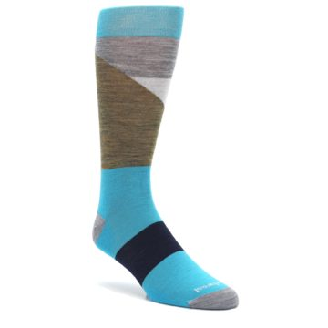 Teal-Grey-Brown-with-Stripes-Wool-Mens-Casual-Socks-Smartwool