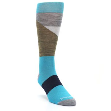 Image of Teal Grey Brown with Stripes Wool Men's Casual Socks (side-1-front-02)