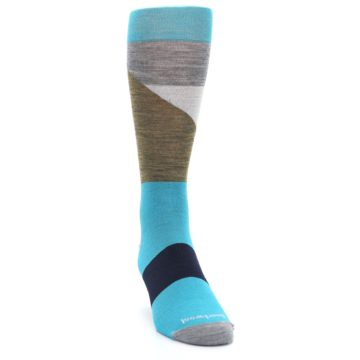 Image of Teal Grey Brown with Stripes Wool Men's Casual Socks (side-1-front-03)