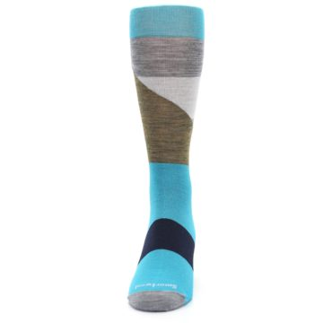 Image of Teal Grey Brown with Stripes Wool Men's Casual Socks (front-05)
