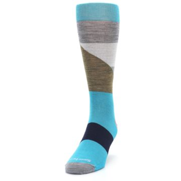 Image of Teal Grey Brown with Stripes Wool Men's Casual Socks (side-2-front-06)