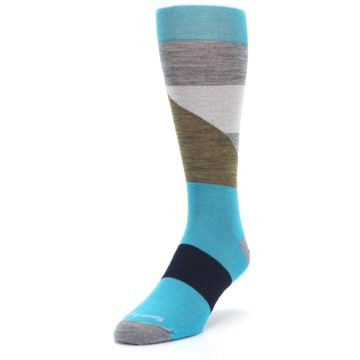 Image of Teal Grey Brown with Stripes Wool Men's Casual Socks (side-2-front-07)