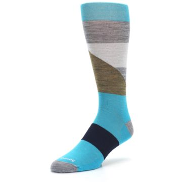 Image of Teal Grey Brown with Stripes Wool Men's Casual Socks (side-2-front-08)