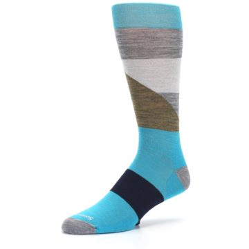 Image of Teal Grey Brown with Stripes Wool Men's Casual Socks (side-2-09)