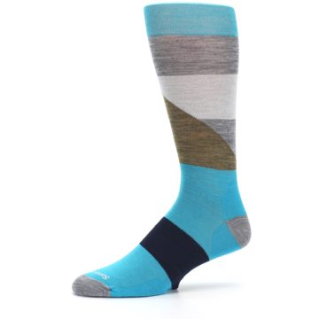 Image of Teal Grey Brown with Stripes Wool Men's Casual Socks (side-2-10)