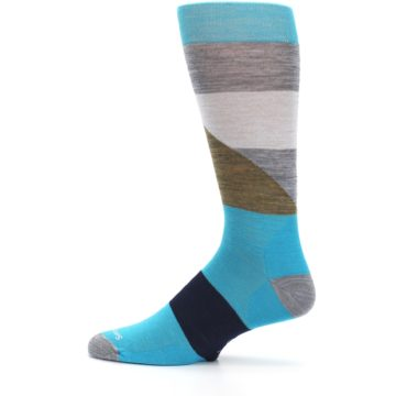Image of Teal Grey Brown with Stripes Wool Men's Casual Socks (side-2-12)