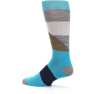 Image of Teal Grey Brown with Stripes Wool Men's Casual Socks (side-2-13)