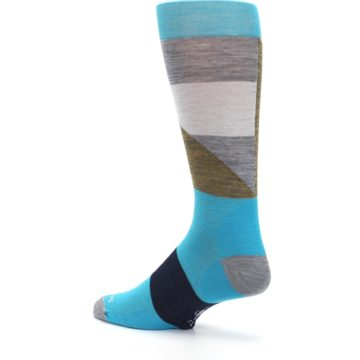 Image of Teal Grey Brown with Stripes Wool Men's Casual Socks (side-2-back-14)