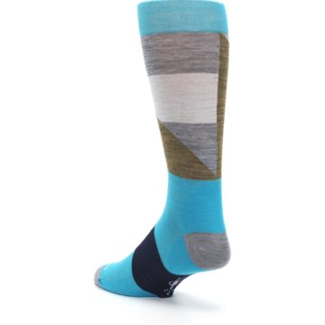 Image of Teal Grey Brown with Stripes Wool Men's Casual Socks (side-2-back-15)