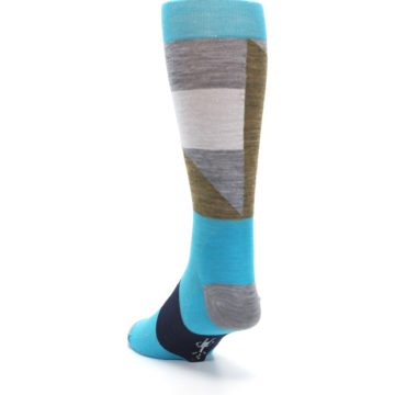 Image of Teal Grey Brown with Stripes Wool Men's Casual Socks (side-2-back-16)