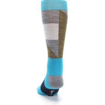 Image of Teal Grey Brown with Stripes Wool Men's Casual Socks (back-17)
