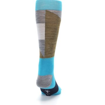 Image of Teal Grey Brown with Stripes Wool Men's Casual Socks (back-19)