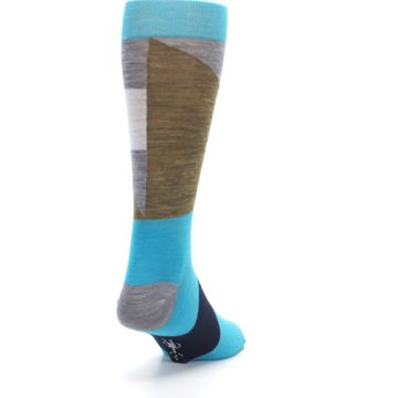 Image of Teal Grey Brown with Stripes Wool Men's Casual Socks (side-1-back-20)