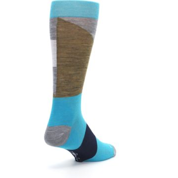 Image of Teal Grey Brown with Stripes Wool Men's Casual Socks (side-1-back-21)