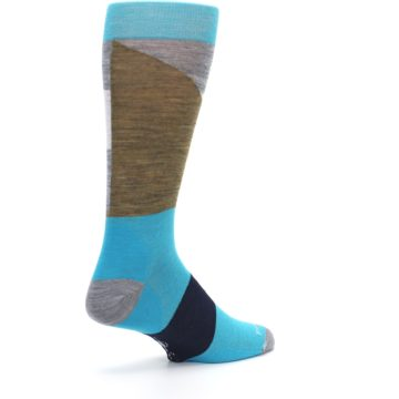 Image of Teal Grey Brown with Stripes Wool Men's Casual Socks (side-1-back-22)
