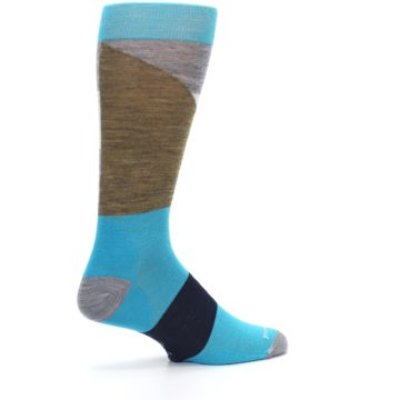 Image of Teal Grey Brown with Stripes Wool Men's Casual Socks (side-1-23)
