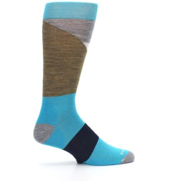 Image of Teal Grey Brown with Stripes Wool Men's Casual Socks (side-1-24)