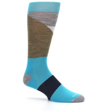 Image of Teal Grey Brown with Stripes Wool Men's Casual Socks (side-1-25)