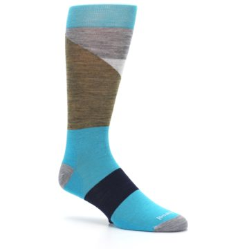 Image of Teal Grey Brown with Stripes Wool Men's Casual Socks (side-1-26)
