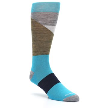 Image of Teal Grey Brown with Stripes Wool Men's Casual Socks (side-1-27)