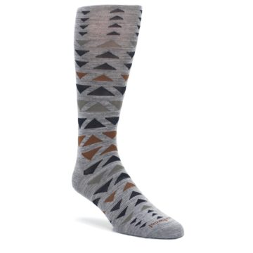 Gray-Multicolor-Triangles-Wool-Mens-Casual-Socks-Smartwool