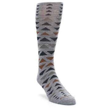 Image of Gray Multicolor Triangles Wool Men's Casual Socks (side-1-front-02)