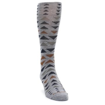 Image of Gray Multicolor Triangles Wool Men's Casual Socks (side-1-front-03)