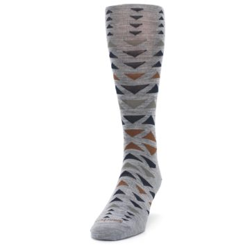 Image of Gray Multicolor Triangles Wool Men's Casual Socks (side-2-front-06)