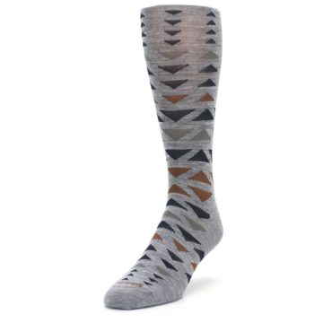 Image of Gray Multicolor Triangles Wool Men's Casual Socks (side-2-front-07)