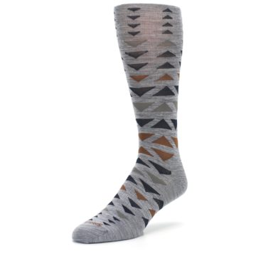 Image of Gray Multicolor Triangles Wool Men's Casual Socks (side-2-front-08)