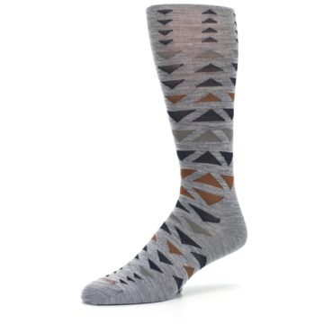 Image of Gray Multicolor Triangles Wool Men's Casual Socks (side-2-09)