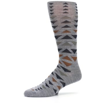 Image of Gray Multicolor Triangles Wool Men's Casual Socks (side-2-10)