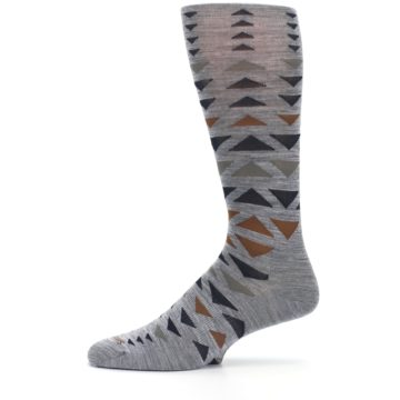 Image of Gray Multicolor Triangles Wool Men's Casual Socks (side-2-11)