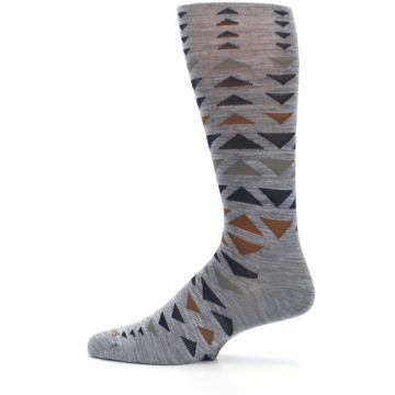 Image of Gray Multicolor Triangles Wool Men's Casual Socks (side-2-12)