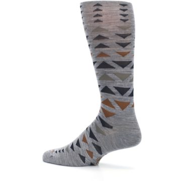 Image of Gray Multicolor Triangles Wool Men's Casual Socks (side-2-13)