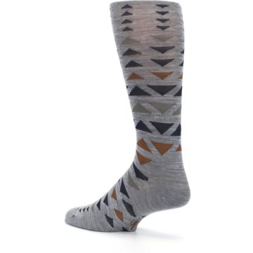 Image of Gray Multicolor Triangles Wool Men's Casual Socks (side-2-back-14)
