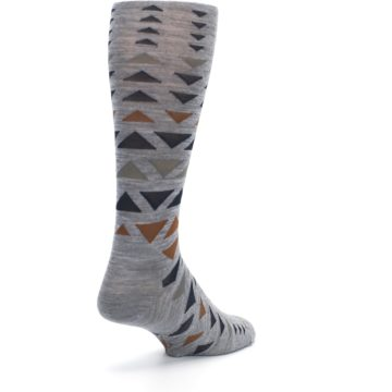 Image of Gray Multicolor Triangles Wool Men's Casual Socks (side-1-back-21)