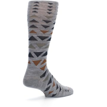 Image of Gray Multicolor Triangles Wool Men's Casual Socks (side-1-back-22)