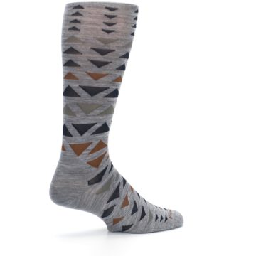Image of Gray Multicolor Triangles Wool Men's Casual Socks (side-1-23)