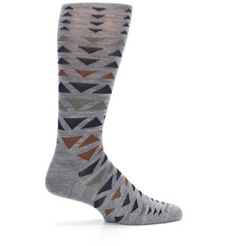 Image of Gray Multicolor Triangles Wool Men's Casual Socks (side-1-24)