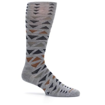 Image of Gray Multicolor Triangles Wool Men's Casual Socks (side-1-25)