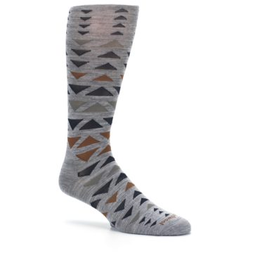 Image of Gray Multicolor Triangles Wool Men's Casual Socks (side-1-26)